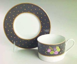 Sasaki China Ravenna Charcoal Flat Cup & Saucer Set, Fine China Dinnerware   Fru