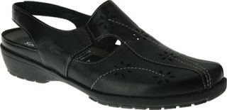 Womens Spring Step Asha   Black Leather Casual Shoes