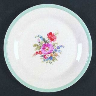 Edwin Knowles Kno343 Luncheon Plate, Fine China Dinnerware   Blue Band Edge, Flo