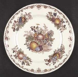 Franciscan Fruit Basket Dinner Plate, Fine China Dinnerware   Pink/Multicolor Fr