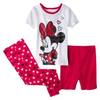 Disney Minnie Mouse Toddler Girls 3 Piece Pajama Set   Red 5T