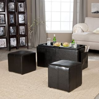 Linon Home Decor Products Inc Hartley Coffee Table Storage Ottoman with Tray