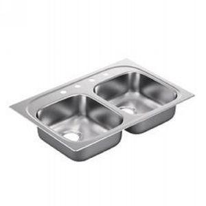 Moen G222174B 2200 Series Stainless steel 22 gauge double bowl drop in sink