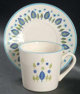 Marcrest Swiss Alpine Flat Cup & Saucer Set, Fine China Dinnerware   Blue Flower
