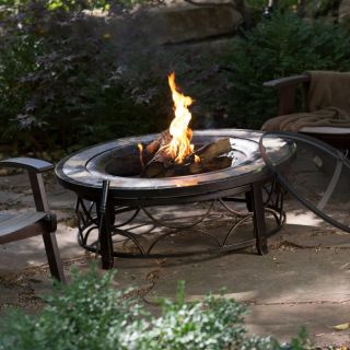 Well Traveled Living Red Ember Brighton 40 in. Round Slate Top Fire Pit Table