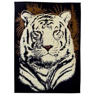 African Adventure White Tiger Head Black Area Rug (5 X 7)