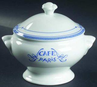 Bernardaud Cafe Paris Blue Individual Soup Server & Lid, Fine China Dinnerware