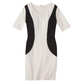 Merona Womens Ponte V Neck Color Block Dress   Sour Cream/Black   XS