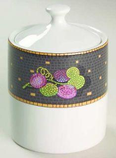 Sasaki China Ravenna Charcoal Sugar Bowl & Lid, Fine China Dinnerware   Fruit&Le