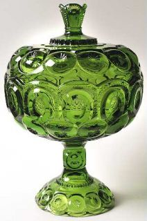Smith Glass  Moon & Star Green Compote with Lid Tall   Dark Green