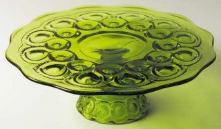 Smith Glass  Moon & Star Green Low Cake Stand   Dark Green