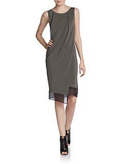 Silk Trimmed Draped Jersey Dress   Soot Grass