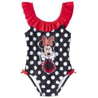 Disney Minnie Mouse Toddler Girls 1 Piece Swimsuit   Black 4T