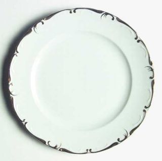Amcrest Imperial Gold Dinner Plate, Fine China Dinnerware   Gold Scroll Edge, Wh