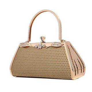 Womens Gold evening bag made of hard gold diamond handbag (lining color on random)