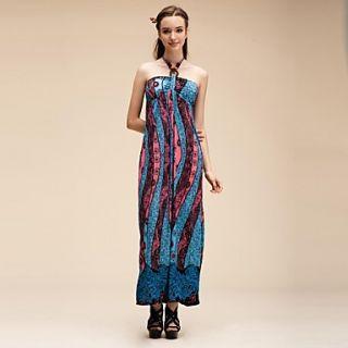 Maya Womens Floral Bohemian Style Print Maxi Straps Beach Dress