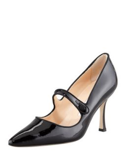 Campari Patent Leather Mary Jane, Black   Manolo Blahnik