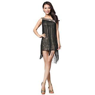 Dancewear Fabric Latin Dance Dress With Tassels For Ladies