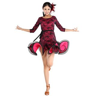Charming Performance Viscose And Lace Latin Dance Dress For Ladies
