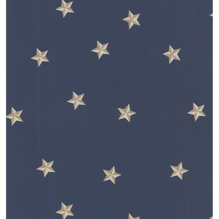 Blue Americana Stars Wallpaper (BlueMaterials: Vinyl coatedQuantity: One (1)Dimensions: 20.5 inches long x 33 feet wodeTheme: TraditionalRepeat: 20.5 inchesMatch: DropCare instructions: WashableHanging instructions: PrepastedModel: 499 56712 )