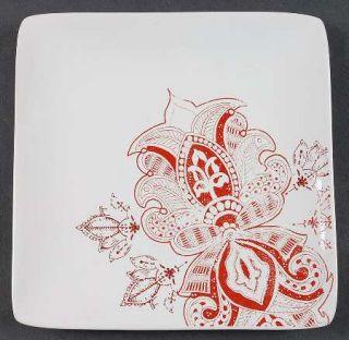Jaclyn Smith Zanzibar Salad Plate, Fine China Dinnerware   Red Paisley Floral On