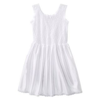 Girls Lace Nylon Full Slip   White 14