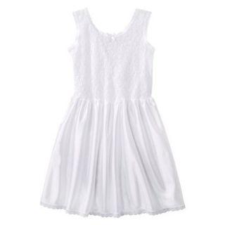 Girls Lace Nylon Full Slip   White 14
