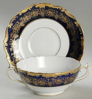 Coalport Hazelton Cobalt Blue Footed Cream Soup Bowl & Saucer Set, Fine China Di