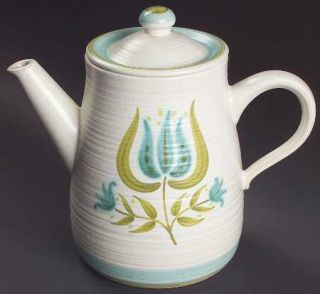 Franciscan Tulip Time Coffee Pot & Lid, Fine China Dinnerware   Blue/Green Tulip