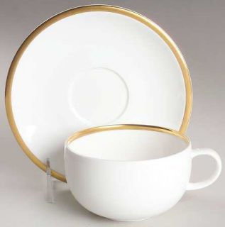 Wedgwood Plato Gold Flat Cup & Saucer Set, Fine China Dinnerware   Gold Trim,Cou