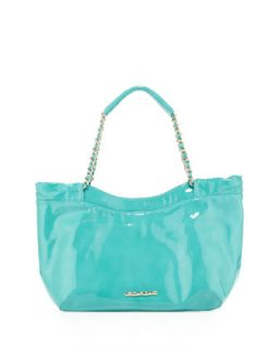 Tamara Patent Chain Strap Shoulder Bag, Robins Egg Blue