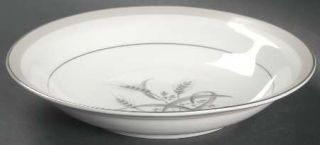 Sone Silver Wheat Rim Soup Bowl, Fine China Dinnerware   Gray Wheat & Band,Plati